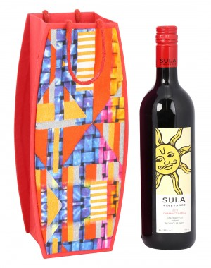 Red Cardboard Paper Abstract Printed Wine Bottle Holder