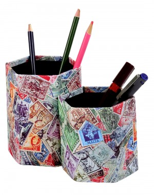 Stylish Cardboard Paper Printed Stamp Multi Color Pen Holder