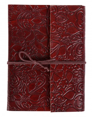 Indian Diary Floral Red Embossed Leather Hand Made Paper Diary