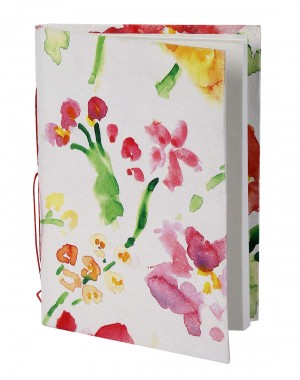 Elegant Diary Floral White Printed Card Board Paper Diary