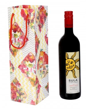 Trendy Floral Yellow Printed Card Board Paper Wine Bottle Holder