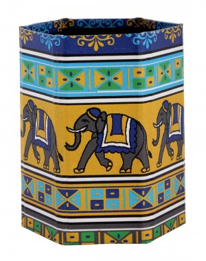 Trendy Elephant Yellow Printed Cardboard Paper Pen Holder