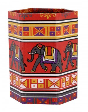 Indian Elephant Red Printed Cardboard Paper Pen Holder