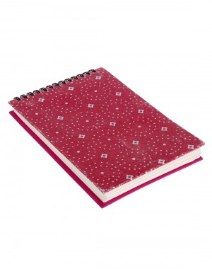 Polka Dot Printed Dark Magenta Cardboard Paper Diary