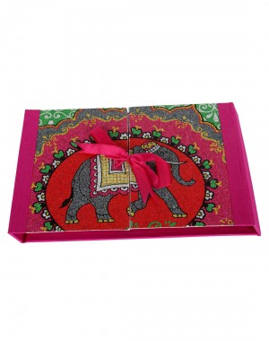 Elephant Printed Magenta Pink Cardboard Paper Diary