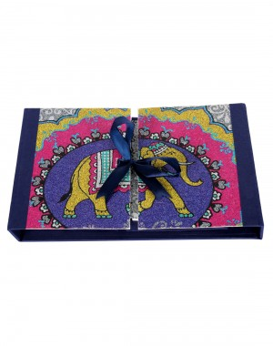 Elephant Printed Navy Blue Cardboard Paper Diary