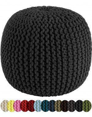 Hand Knit Pure Cotton Pouf Black Braid Cord Stitched Round Ottoman Foot Stool Home Decorative Seat for Guests, 20x14""