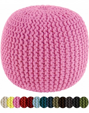 """Pink Boho Home Decor Cotton Braid Cord Stitched Ottoman Pouf Cylindrical Round Outdoor Seating Chair, 20x14"""""""