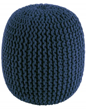 Blue Pure Stuffed Pouf Hand Knitted Braided Cotton Cord Round Ottoman Small Space Bedroom Decorative Seating, 20x14""