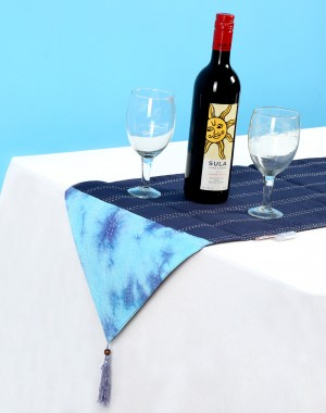 Tie Dye Dark Blue Cotton Table Runner