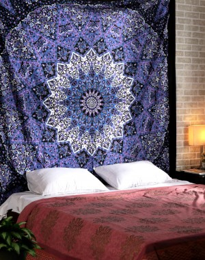 Popular Handicrafts Hippie Mandala Tapestry Blue Purple Tapestry Wall Hanging Indian Tapestry Large Table Runner Bed Cover Indian Art Cotton Bohemian Tapestry Cotton Bed Sheet Decor Wall Hanging