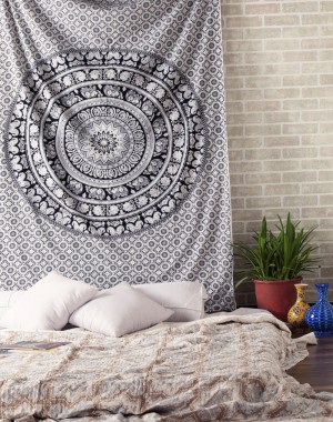 Elephant Mandala Hippie Tapestry Indian Traditional Throw Beach Throw Wall Art College Dorm Bohemian Wall Hanging Boho Twin Bedspread Black & White