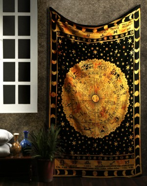 Black Zodiac Horoscope Tapestry, Indian Astrology Hippie Wall Hanging, Ethnic Decorative Art, Celtic Zodiac Tapestry