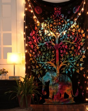 Tree of Life Psychedelic Wall Hanging Elephant Tapestry, Multi/Black, Decorative Wall Hanging, Picnic Beach Sheet