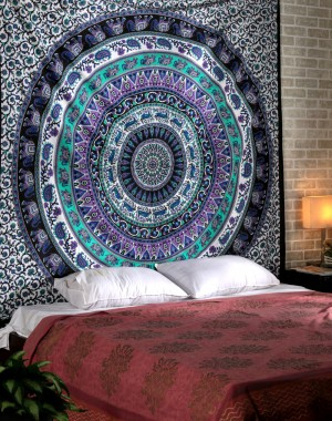 Large Indian Mandala Tapestry Hippie Hippy Wall Hanging Throw Bedspread Dorm Tapestry Decorative Wall Hanging , Picnic Beach Sheet