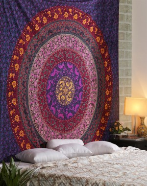 Large Hippie Tapestry, Hippy Mandala Bohemian Tapestries, Indian Dorm Decor, Psychedelic Tapestry Wall Hanging Ethnic Decorative Urban Tapestry  Multi Color