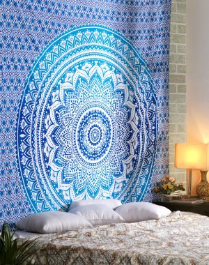 Hippie Mandala Multi Purpose Cotton Cloth , Decorative Wall Hanging, Picnic Beach Sheet