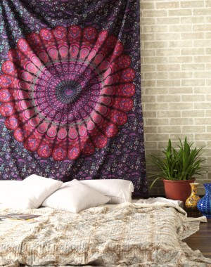Mandala Bohemian Tapestry Wall Hanging, Psychedelic Wall Art, Dorm Decor Beach Throw, Indian Wall Tapestries