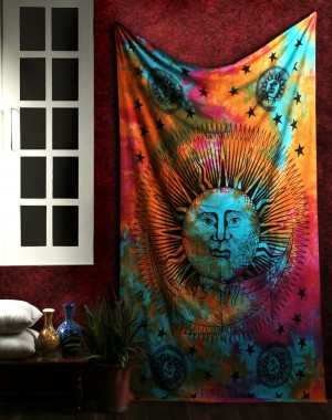 Cotton Turquoise Sun Printed Mandala Tapestry