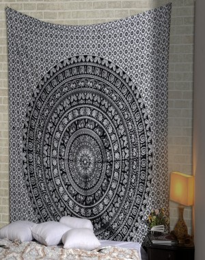 Black & White Elephant Printed Mandala Tapestry