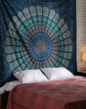 Blue Color Theme  Size Mandala Wall Tapestries, Psychedelic Indian Tapestry Bedding, Bohemian Wall Hanging, Floral Print Bed Cover
