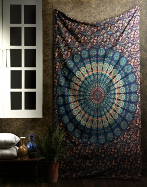 Tapestry Wall Hanging Mandala Tapestries Indian Cotton Bedspread Blue Theme Picnic Blanket Wall Art Hippie Tapestry