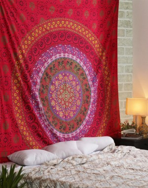 Luxurious Cotton Red Tapestry Printed Designer Wall Hanging