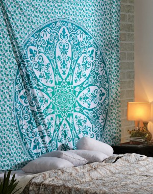 Fashionable Cotton Green Tapestry Printed Designer Wall Hanging
