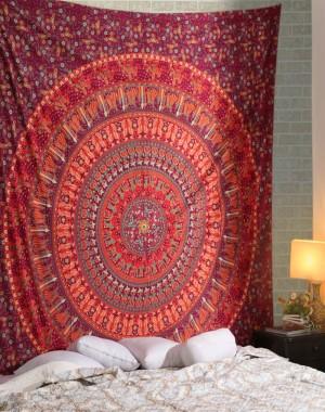 Reddish camel print mandala tapestry , Hippy Tapestries Mandala Tapestry Hippie Bohemian Wall Hanging