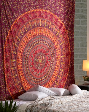 Reddish camel print tapestry , Hippy Tapestries Mandala Tapestry Hippie Bohemian Wall Hanging