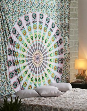 Mandala Tapestry, Indian Mandala Wall Hanging, Indian Tapestry, Bohemian Wall Hanging, Twin Mandala, Jaipuri Print Tapestries, Ethnic Decor