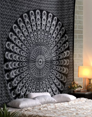 Large White Black Mandala Tapestries, Mandala Tapestries, Peacock Mandala Tapestries, Hippie Hippie Tapestries