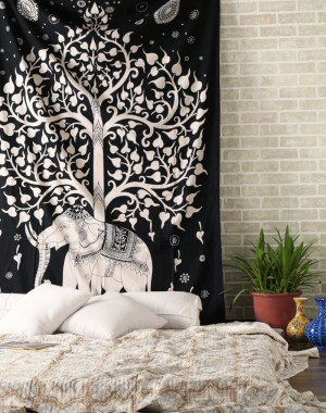 Kayso Elephant Tree Tapestry, White Black Ethnic Wall Decal Indian Handmade Designer, Decorative Wall Hanging, Picnic Beach Sheet