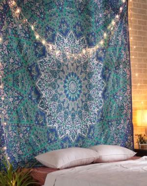 Blue Mandala Tapestry, Mandala tapestries, Indian Bedspread, Mandala Wall Hanging