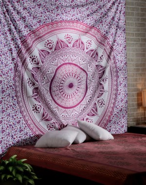 Glorious Unique Color Shade Purple-pink Large Queen Mandala Tapestry Ombre Psychedelic Tapestries Medallion Bohemian Wall Hanging