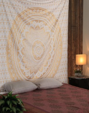 "Exclusive ""Golden Ombre Tapestry by Rajrang"" Ombre Bedding , Mandala Tapestry, Queen, Multi Color Indian Mandala Wall Art Hippie Wall Hanging Bohemian Bedspread"