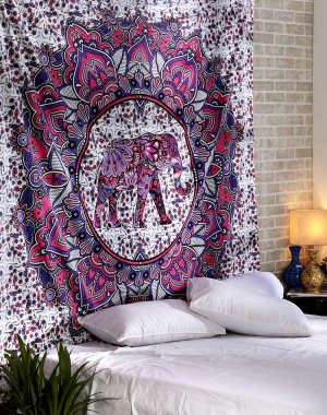 Christmas Gift Elephant Hippie Mandala Bohemian Psychedelic Intricate Floral Design Indian Bedspread Magical Thinking Tapestry