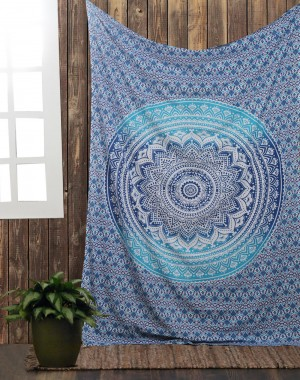 Blue Ombre Indian Wall Hanging Hippie Mandala Tapestry Bohemian Bedspread Ethnic Dorm Decor