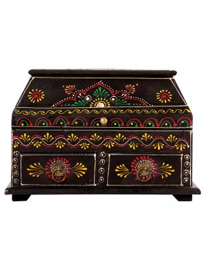 Coffee Metal Wood Two Drawers Painted Box