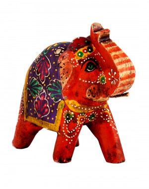 Red Wood Leaves Hand Painted Elephant Collectible Figurine