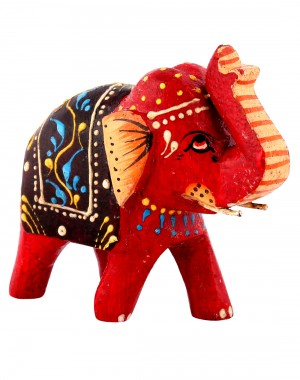Orange Wood Floral Hand Painted Elephant Collectible Figurine