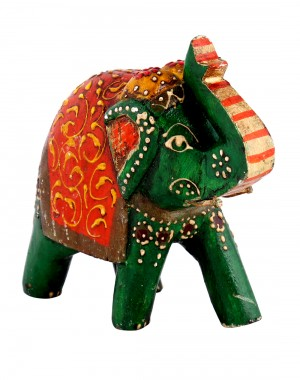 Green Wood Floral Hand Painted Elephant Collectible Figurine