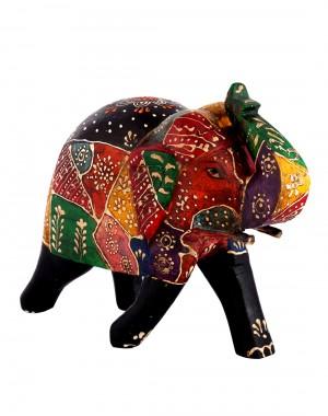 Floral Hand Painted Coffee Wood Elephant Collectible Figurine