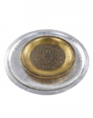 Floral Embossed Silver Wood And Metal Tray (Set Of 2)