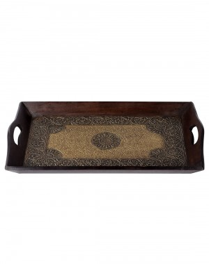 Floral Embossed Coffee Wood And Metal Tray