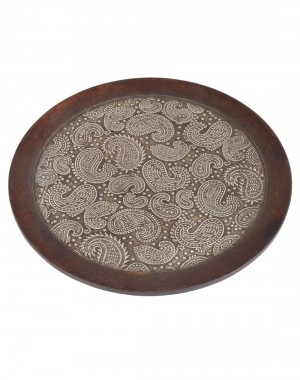 Paisley Embossed Coffee Wood And Metal Tray