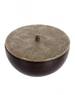 Paisley Embossed Coffee Wood And Metal Box