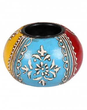 Floral Hand Painted Wood Red Candle Holder