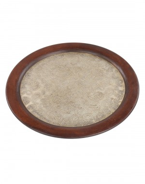 Paisley Embossed Brown Wood And Metal Tray