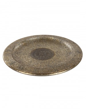 Floral Embossed Brass Wood And Metal Tray